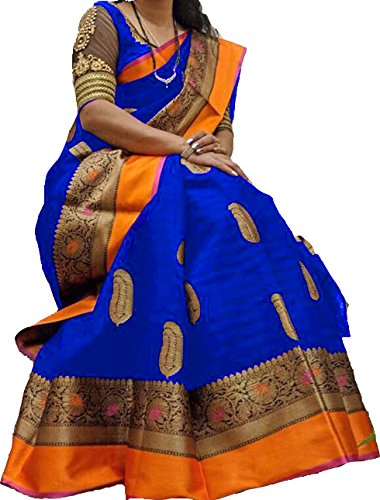 Fashion and Hub Women's Latest Wedding Party Wear Saree With Blouse Piece
