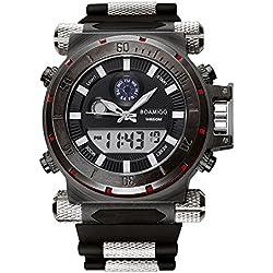 BOAMIGO Luminous Mens Watch with Rotating Bezel and Alarm Quartz Digital 50M Waterproof (Black Black)