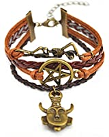 CuteEdison Leather Charm Bracelet in Dark Chocolate Brown Colour with Tan Faux Corded Leather with Skeleton / Pentagram / Protection