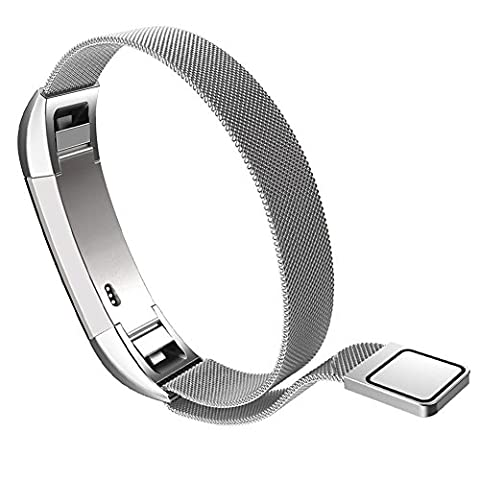 Fitbit Alta Smart Fitness Tracker Band By WandLee, Milanese Loop Stainless Steel Bracelet Strap Replacement Accessories with Unique Magnet Lock, No Buckle Needed (Silver)