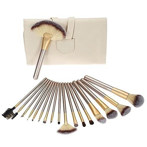 Nestling® 18Pcs Pinceaux de Maquillage Professionnels Kit de Brosses Cosmétique avec un Sac Brosse pour Fond de Teint,Poudre Sourcil,Fard à Paupière