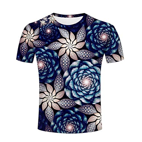 YUEJINGCHI Camiseta para Hombre Obra de Arte Mandala 3D Impreso Casual Camisetas Tops S