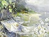 Artland Qualitätsbilder I Poster Kunstdruck Bilder 120 x 90 cm Landschaften Strand Malerei Grau B8YZ Hängematte in der Nähe des Meeres