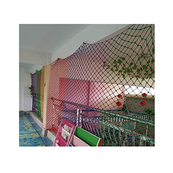 Children's Outdoor Railing Safety Net, Safety Net, Decorative Net Protection Fence Climbing Rope Truck Cargo Trailer Mesh Suitable For Children Toys Pet Outdoor Terrace Balcony Railing Stairs Playgrou SFMND ▲Multi-use Protection Net:Family balcony and railing balcony stairs safety net banister stair anti-cat climbing, anti-high fall and other intensive protection; Wall ,home, theme party hotel, guesthouse, cafe, bookshop, restaurant, decoration,hanging ect. ▲Characteristics of Decoration Net: Soft material, light mesh, multi-layer warp and weft, precise wiring, workmanship; high temperature sunscreen, waterproof; clear lines, anti-slip endurance and anti-wear. ▲ safety net wire diameter 6MM, mesh spacing 6CM. Color: color rope net. Our protective mesh can be customized according to your needs. 5