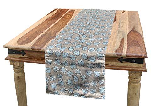 ABAKUHAUS Retro Tischläufer, Vintage Hipster Brille, Esszimmer Küche Rechteckiger Dekorativer Tischläufer, 40 x 225 cm, Hellblau Weiß Tan