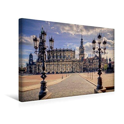 Calvendo Premium Textil-Leinwand 45 cm x 30 cm Quer, Dresden Theaterplatz | Wandbild, Bild auf...