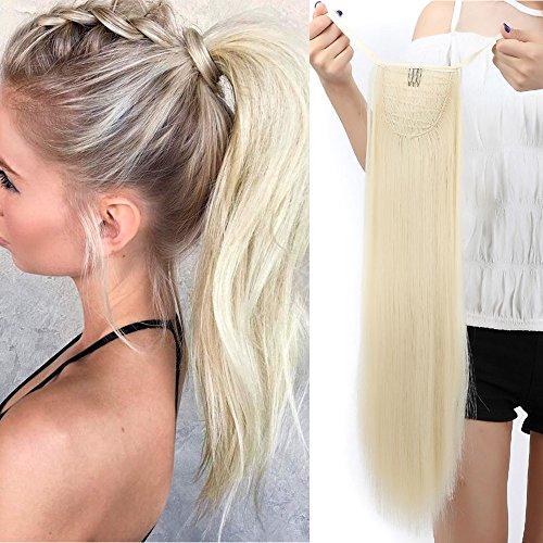 """TESS Ponytail Extension Haarteil Pferdeschwanz Clip in Zopf Haarteil günstig Haarverlängerung Blond Glatt 22""""(55cm)-90g"""