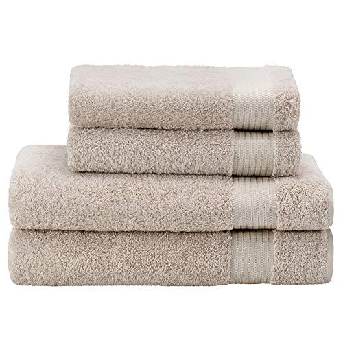 Twinzen  Lot Serviette de Bain (4 pièces), 100% Coton, sans Produits Chimiques - 2 x Essuie Main (50 x 80 cm) et 2 x Drap de Bain (140 x 70 cm) - Oeko TEX - Serviettes de Bain Douces et Absorbantes
