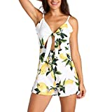UFACE Ärmelloser Jumpsuit für Damen Frauen ärmellose Blumendruck Playsuit kausalen Overall Outdoor (S, Weiß)