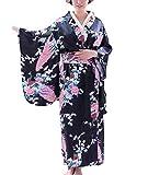 Botanmu Vestito giapponese delle donne di Kimono del vestito dal cosplay del costume 5 di colori della fotografia (Nero)