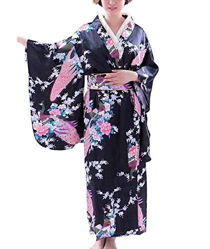 Botanmu Frauen Kimono Robe Japanische Kleid Fotografie Cosplay Kostüm 5 Farben (Schwarz)
