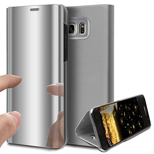samsung galaxy s6 edge luxe miroir flip clear view coque