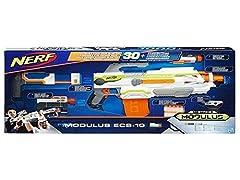 Idea Regalo - Hasbro Nerf B1538EU4 N-Strike Modulus ECS-10 Blaster, Mirino di Precisione, Versione Italiana