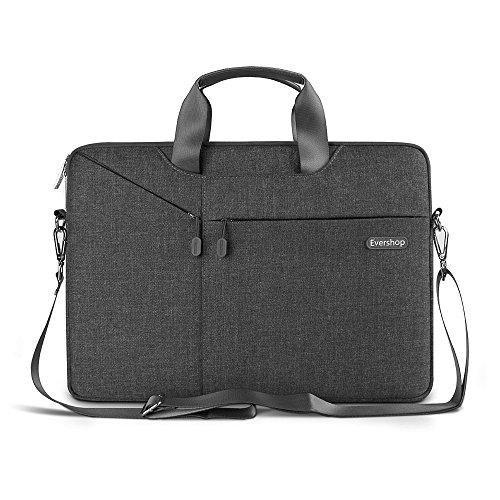 3 in 1 Tasche für Laptop / Tablet - Evershop Handtasche Schultertasche Aktenkoffer für Macbook Air Pro / Notebook / Oberfläche mit Bildschirmdiagonale 15,4 Zoll (schwarz) (Laptop-tasche 15.4 Schwarz)