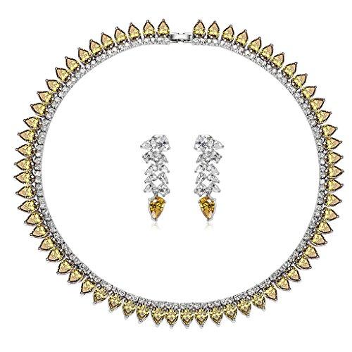 Epinki Plaqué Argent Femme Avec Swarovski Elements Cristal Ensemble de Bijoux, Blé Larme Mariage Collier et Boucles D'Oreilles 5 Couleurs Jaune