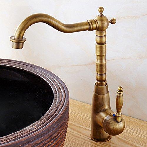 Retro capa Media cascada lavabo grifo antiguo Cobre lavabo grifo grifo monomando mezclador grifo baño latón rústico con längerer caño alto y tren Barra