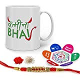 Indigifts Rakhi Gifts For Brother Kamina Bhai Quote Printed Gift Set Of Mug 330 Ml, Crystal Rakhi For Brother, Roli, Chawal & Greeting Card - Rakshabandhan Gifts For Brother, Rakhi For Brother With Gifts, Raksha Bandhan Gifts, Brother Coffee Cup