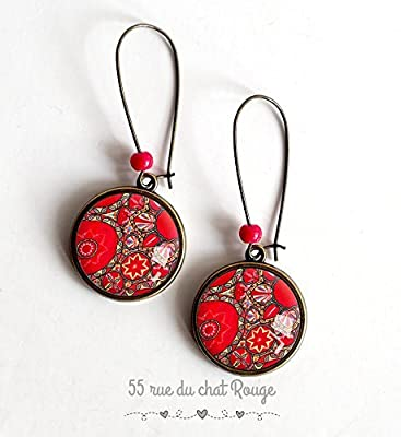 Boucles d'oreilles cabochon, folklore mexicain, fleurs, floral, rouge et rose,
