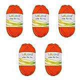 5er Pack Filz Wolle orange 100% Schurwolle 250g, Wolle zum Stricken und Filzen Marke: LaLuna®