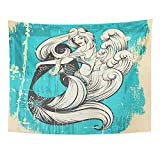 Wandteppiche, Tapestry Wall Hanging, Beautiful Mermaid with Long Hair and Sea Waves Mad in Realistic Sketch Line Stile 60'x 80' Home Decor Art Tapestries for Bedroom Living Room Dorm Apartment