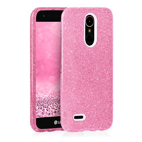 EGO ® Hülle Glitzer Schutzhülle für LG K10, Schwarz Back Case Bumper Glänzend Transparente TPU Bling Weiche Glamour Handy Cover Lipgloss Pink
