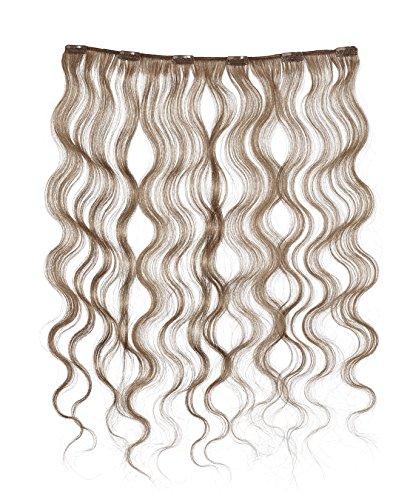 American Dream - A4/QFC12/18/6B - 100 % Cheveux Naturels - Douce Ondultation - Pièce Unique Extensions à Clipper - Couleur 6B - Brun Doré Léger - 46 cm