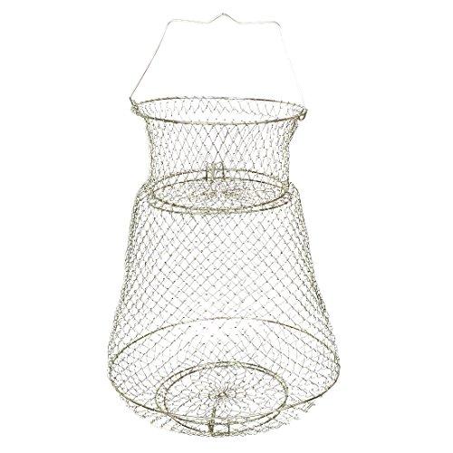 sourcingmap® 40cm Höhe, zusammenklappbarer Käfig Fisch gold tone Metall Angeln Cage Net für Fischer de -
