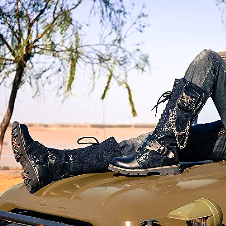 Shukun Stivali da uomo Stivali da Uomo Stivali da Neve Stivali da Rivetto Metallici Stivali Militari Stivali da... | Forma elegante  | Maschio/Ragazze Scarpa