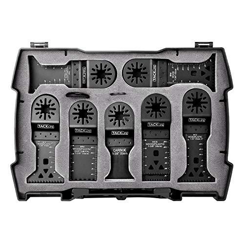 Oszillierwerkzeug-Zubehör, TACKLIFE 15-tlg. Oszillierende Sägeblätter Klinge Set für Multifunktionswergzeug, 4 Stück C-Clip Adapter, Schneiden von Holz, Nägeln, Metall, Kunststoff (inkl. Tragekoffer)