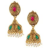 Signature Jhumki Shape Golden Dangle Ear...