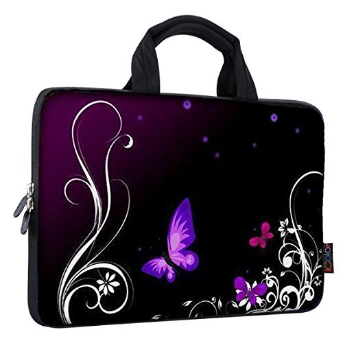 iColor Eiffelturm & Pink Roses 38,1-39,6cm Laptop Sleeve Tasche Neopren Schutzhülle für MacBook Pro HP Dell Lenovo ThinkPad ASUS Ace MacBook Air (fy-ps15-24) violettfarbener Schmetterling (Pink Vaio Laptop Touchscreen)
