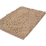 Shag-style alfombra de baño, de chenilla, antideslizante, absorbente, Shaggy Rugs, 40 x 60 cm, marrón claro, 40x60cm