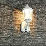 Weiße Außenlampe mit Bewegungsmelder E27 IP44 H:42cm Sensor Wandleuchte außen Terrasse Einfahrt Hof