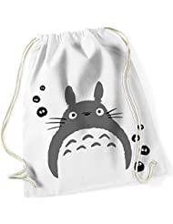 Mi Vecino Totoro/MI Vecino Totoro/Anime//100% algodón de dibujos animados Turn Bolsa con texto impreso y diseño/UNI Size, Onesize, regalo ideal/Unisex/mochila, bolsa, yute Tasch, yute Bolsa/Hipster Fashion/vanverden, color White (Weiß), tamaño talla única