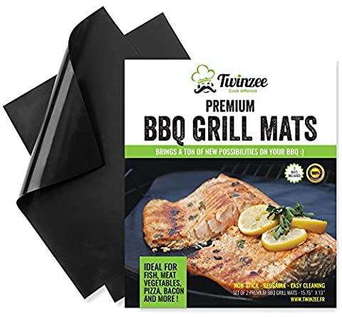 Set of 2 Highest Quality BBQ Grill & Baking Mats, 100% Non-stick and Reusable PFOA Free - Great on Charcoal, Gas and Weber Style Grills - No Fall Through, No Flame Ups - Great for Meat, Fish and Veggies - Easy Cleanup, Dishwasher
