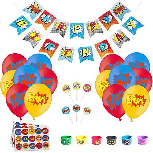 51uCzcmNtOL - Juego de decoración de cumpleaños de superhéroes (31 Piezas) - Globos de Colores con pancartas de superhéroes y pancartas de superhéroes, decoración de Pasteles, Pegatinas y muñequera para niños