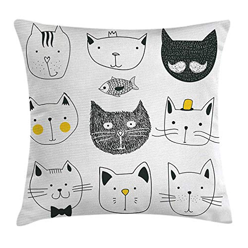 ZTLKFL Cat Throw Pillow Cushion Cover, Stylish Cats with Moustache Bow Tie Hat Crown Fluffy and Fish Humor Faces Graphic, Decorative Square Accent Pillow Case, 18 X 18 Inches, Yellow Grey Handmade Printed Silk Tie
