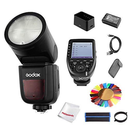 Godox V1-N für Nikon 2.4G TTL-blitzgerät mit rundem Kopf, 1/8000 HSS, 480 Aufnahmen mit voller Leistung, 1,5 s Recycling-Zeit, 2600 mAh Lithiumbatterie - Power Clamp Meter