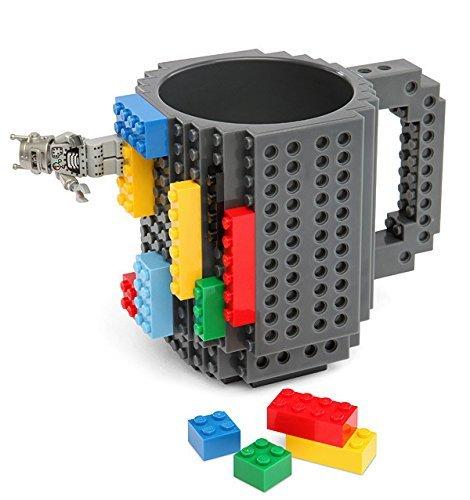 VANUODA Build-on Brick Mug, Tazas Desayuno, Regalo Originales de Navidad Ideal para Hombre - Chico - Chicas (Gris)