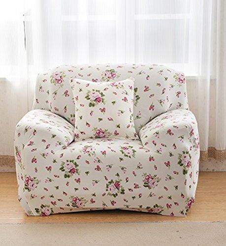 Sofa für 2-Sitzer-Sofa Schonbezug Stretch Elastic Pet Dog Polyester-Couch Displayschutzfolie-Soft Couch Cover Floral Print Bettüberwurf, white rose, 4PCS Pillow Case:45*45CM