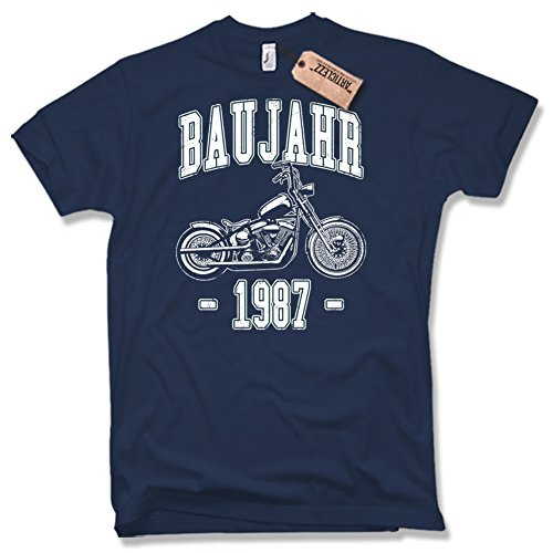 BAUJAHR 1987, Biker, 50. Geburtstag, verschiedene Farben, Gr. S - XXL dunkelblau / navy