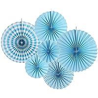 SUNBEAUTY 6 set La Corona Azul papierf, Plato de decoración para celebrar la fiesta de cumpleaños de 20cm 30cm 40cm sujeto combinación (Azul)