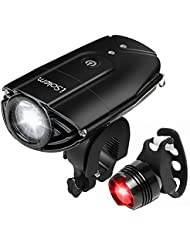 iSolem LED Lumière Lampe Torche du Vélo et Feu Arrière, Antichoc Impermeable IP65, Phare Lampe Bicyclette Rechargeables USB, 985ft distance, 3 Light modes, 1200 Lumens Light, Facile à Monter
