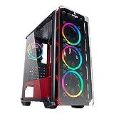 Noua Cool G6 Rosso Case ATX per PC Gaming 0.60MM SPCC 4 Ventole Dual Halo RGB Rainbow Frontale Tempered Glass 3*USB3.0/2.0 Pannelli Laterali in Vetro Temperato (AxPxL: 480x425x200 mm)