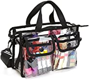 Enkrio Clear Bag Cosmetic Storage Bag NFL Stadium Security Approved Shoulder Bag Makeup Tote Bag with Strap &a