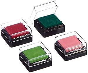 Folia 30171 - Set de 4 tampones de colores para sellos, 34 x 34 mm Importado de Alemania , Modelos/colores Surtidos, 1 Unidad