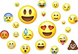 Emojis Pack of 22 - Wall Art Vinyl Printed Stickers Emoticon Funny Emoji Faces Bedroom Decals
