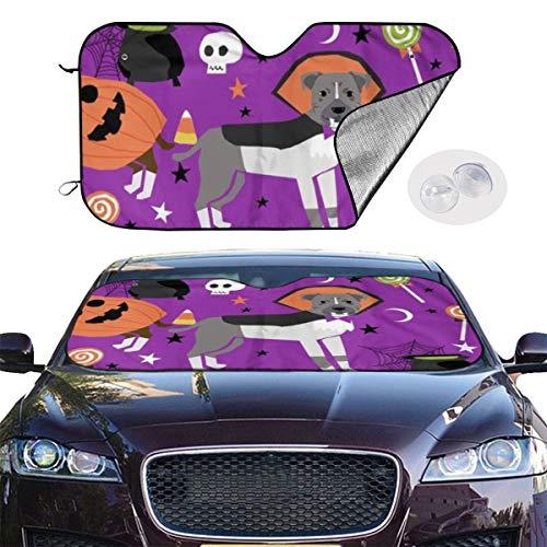 Dress rei Car Windshield Sun Shade Pitbull Halloween Costume Dog Cute Dogs In Costume Funny Pet Purple Keep Your Vehicle Cool UV Sun Heat Reflector 51.2x27.5 Inchs