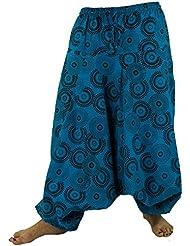 Haremshose Pluderhose Pumphose Aladinhose aus Baumwolle blau / Pluderhosen und Aladinhosen