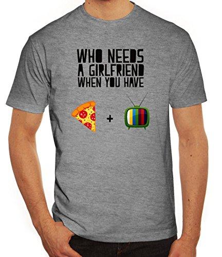 Valentinstag Herren T-Shirt mit Who Needs A Girlfriend Motiv von ShirtStreet Graumeliert
